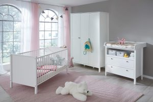 spacious pink baby room